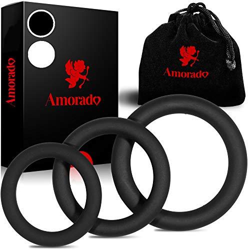 AMORADO Penisringe aus Silikon – Mega Sexspielzeug für Männer zur Potenzsteigerung - Cockring 3 er Set für eine längere und prallere Erektion – mit Samtbeutel (3 Größen) (Schwarz, 3 Größen)