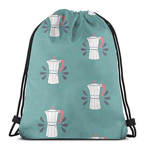 WH-CLA Rucksack Mit Kordelzug Kaffee Perkolator Muster Frauen Druck Aufbewahrung Cinch Taschen Männer Casual Strandtasche Kordelzug Taschen Leichte Outdoor Outdoor Kordelzug Rucksäcke Für