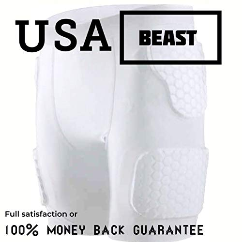 USABeast Football Girdle: Flexible hexpad, 5-pad Shorts with Nonslip, Moisture-Wicking Fabric, Extra Protection Added Tailbone pad, Thigh Pads, and Sports-Enhanced Hip Pads (Medium) (White, x-Large)
