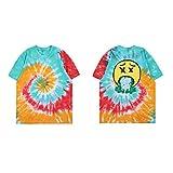 NAGRI Short Sleeve Graphic Fashion T-Shirt, Rainbow/Smile Face, Large