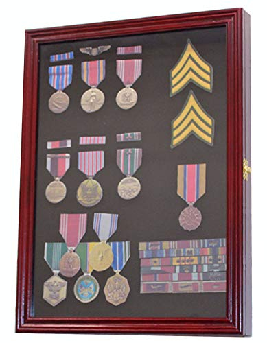 Military Medals, Pins, Patches, Insignia, Ribbons Display Case Wall Frame...