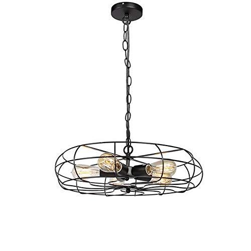 Tesysyet Lámpara de techo con forma de ventilador de estilo industrial, de hierro forjado, color negro