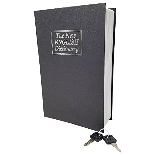 Libro caja fuerte–tamaño grande–negro–Diccionario desviación libro de caja cierre con llave cierre–Portátil Seguro–Guardar Dinero, joyería, y otros documentos–perfecto para casa o de viaje