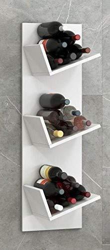 VCM Vinosi Regal Weinregal Wandregal Hängeregal Bücherregal, Holzdekor, Weiß, 106.5 x 33 x 25.6 cm