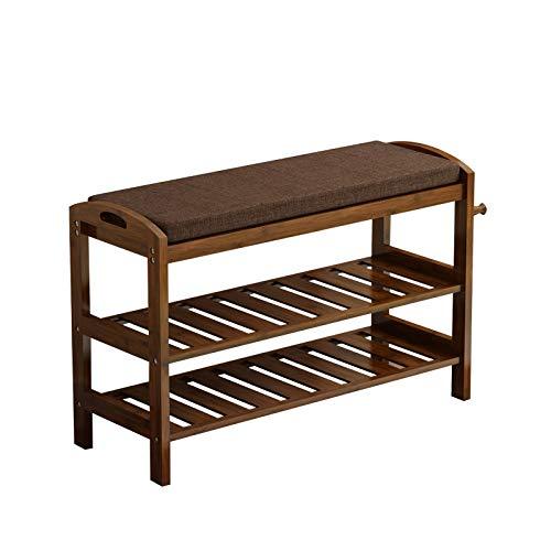 JJZXT Einfacher Schuh Bank Schuhschrank Massivholz Bambus Moderner einfacher Multifunktionsschuh Bench (Size : 80length)