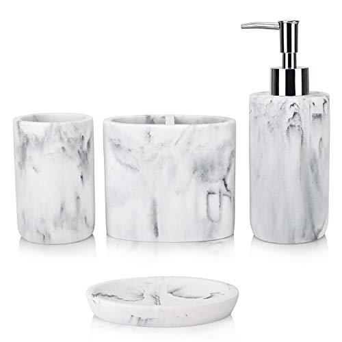 IACA Bathroom Accessory Set,4 Pieces White Marble Bathroom Vanity Countertop Accessory Set with Bathroom Toothbrush Holder Set,Soap Dispenser,Tumbler,Soap Dish for Bathroom Decor