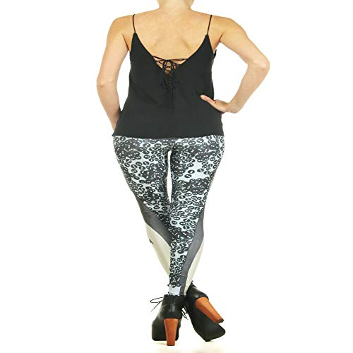 DSCX Leggings da Donna Stampa Yoga Leggings Elasticizzati Leggings con Stampa   Outdoor Grande Grigio M