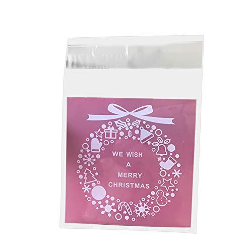 Super1798-100 bolsas de regalo de plástico para guirnalda de Navidad, galletas y dulces, bolsa de embalaje