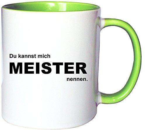 Mister Merchandise Kaffeetasse Becher Du Kannst Mich Meister nennen, Farbe: Weiß-Grün