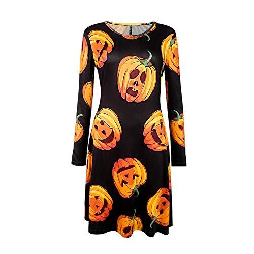 ghfcffdghrdshdfh Trendy Vrouwen Halloween Kostuum Lange mouwen O-hals Jurk met Pompoen Patroon Zwart