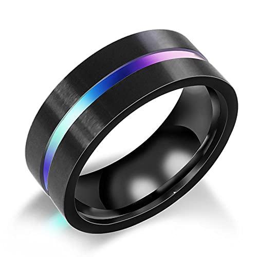 BYYHJNMSXS Anillos Hombre Hombres De Moda Dominante Moda Todo-Fósforo Color Titanio Acero Groove Ring Bracelet-1_12