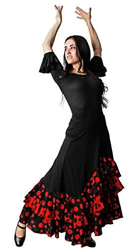 Gojoy shop- Falda Profesional de Lunares para Baile Danza Flamenco o Sevillanas para Mujer con 3 Volantes (M, Rojo)