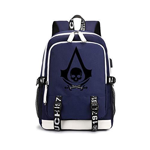Assassin's Creed Daypacks Neue Marken-Tasche koreanische Version des einfachen Studenten-Taschen-Karikatur-Druck-Rucksacks Unisex (Color : Blue03, Size : 30 X 15 X 43cm)