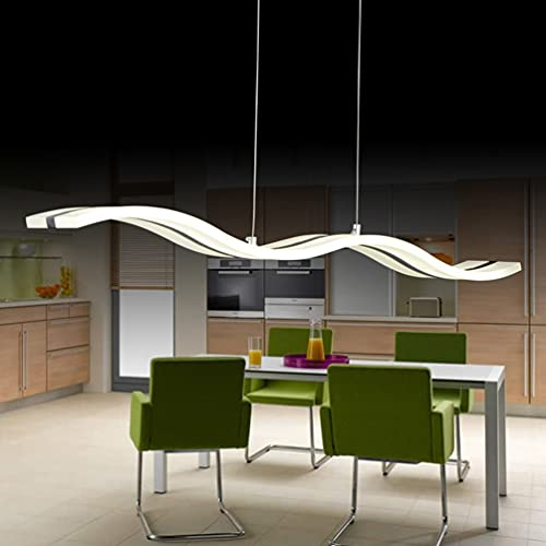 LED mesa de comedor , dormitorio, pasillo, cocina, lámpara blanca con forma de ondas colgante ,metal acrílico,altura regulable, diseño creativo y moderno, lámpara de salón techo lámpara