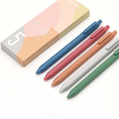 5 unids/Caja Retro Color de Gel de Color Oscuro retráctil retráctil 0.5 mm Punto Fino Oscuro-Rojo/Verde/marrón/Azul bolígrafos Negros para el Diario (Color : Morandi 1)