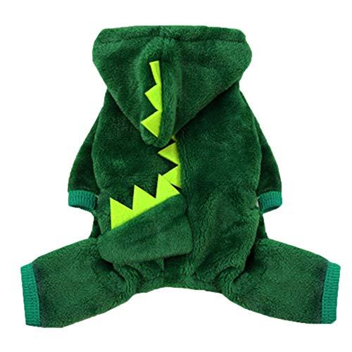 Poseca Disfraces de dinosaurio para perros pijamas para perros mono sudaderas con capucha para perros de felpa abrigo para mascotas cachorros gatos disfraces de Halloween y Navidad trajes