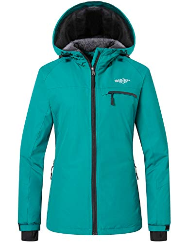 Wantdo Women's Hooded Mountain Snowboarding Jacket Winter Windbreaker Moonblue S