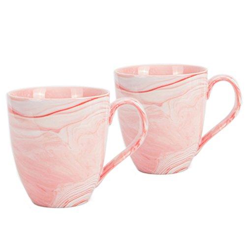 Hausmann & Söhne XXL Tasse weiß groß aus Porzellan in rosa Marmorierung | Jumbotasse 500 ml (550 ml randvoll) im 2er Set | Kaffeetasse/Teetasse groß | Kaffeebecher Marmor | Geschenkidee