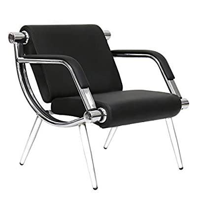 Peach Tree Black Leather Executive Side Reception Chair Office Waiting Room Guest Reception, Salon Barber Office Waiting Chair Bank Hall Airport Reception Waiting Chair
