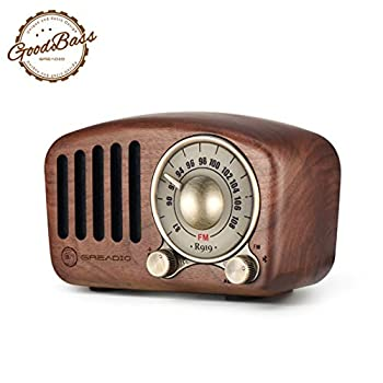 Vintage Radio Retro Bluetooth Speaker- Greadio Walnut Wooden FM Radio with Old Fashioned Classic Style Strong Bass Enhancement Loud Volume Bluetooth 4.2 Wireless Connection TF Card & MP3 Player