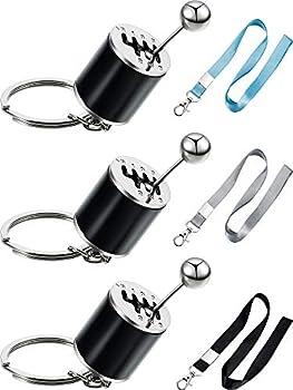 3 Pieces Six Speed Keychain Stick Shift Keychain Gear Shift keychain Metal Transmission Keychain and 3 Pieces Lanyard