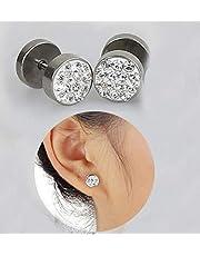 Men/Women Stainless Steel Barbell with Rhinestone Stud Earring