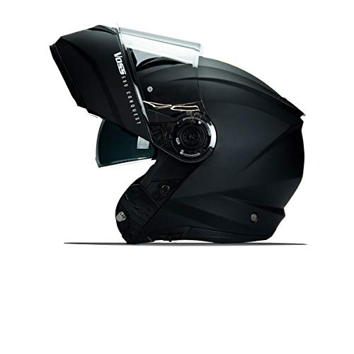 VOSS 580 Conquest Modular Helmet with Integrated Sun Lens Communication Ready Pinlock 70 Anti-Fog Included. DOT/ECE. Matte Black - X-Large