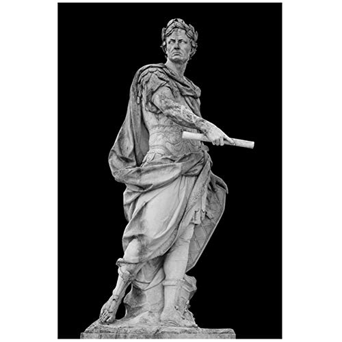 ASLKUYT Black and White Roman Emperor Julius Sculpture Caesar Statue Poster Wall Art Pictures for Living Room Decoration-24x32 in No Frame
