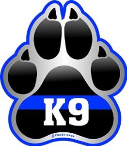 ProSticker 1078 (One) 4' Patriot Series K9 Paw Thin Blue Line Support Decal Sticker