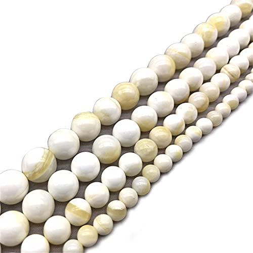 Cuentas redondas de alambre de oro blanco natural para encantos DIY collar pulsera haciendo 6/8/10/12 mm blanco 10 mm aproximadamente 38 cuentas