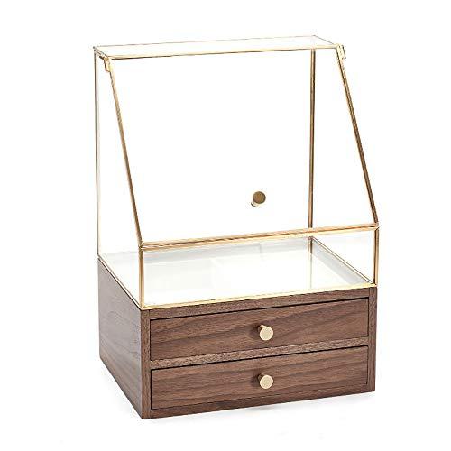 Joyero de nogal con 2 cajones, caja de almacenamiento cosmética de cristal, organizador de joyas de alta capacidad para anillos, pulseras, pendientes, collares, relojes, gafas