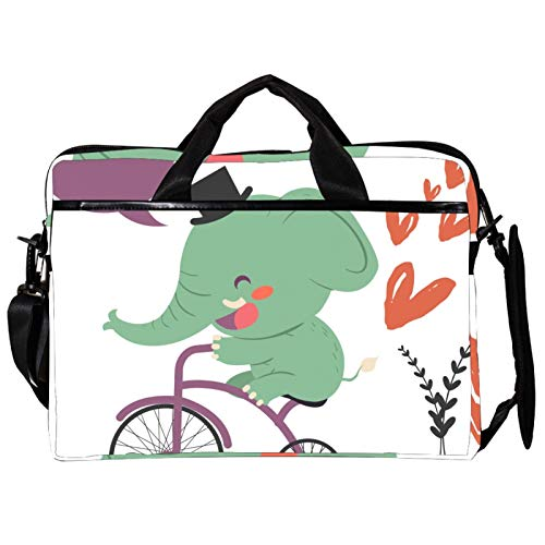 Unisex Computer Tablet Satchel Bag,Lightweight Laptop Bag,Canvas Travel Bag,13.4-14.5Inch with Buckles Funny Elephant Ride Bicycle