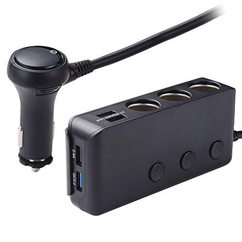 Blueshyhall Adaptador para encendedor de cigarrillos 3.0, 3 compartimentos, 120 W, 12 V/24 V, USB, con indicador de voltaje LED, voltímetro para smartphone, tablet y cámara de salpicadero