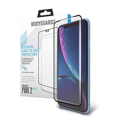 BodyGuardz - Pure 2 Edge Glass Screen Protector for Apple iPhone Xr, Ultra-Thin Edge-to-Edge Tempered Glass Screen Protection for Apple iPhone Xr - CASE FRIENDLY