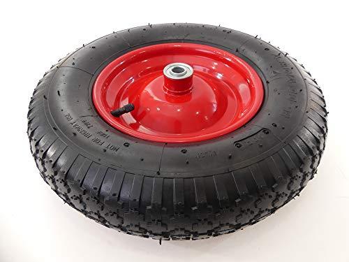 "Tech Team Tire and Wheel, 4.00-8 on Steel Wheel Hub, Dual Ball Bearings, Air Filled/Pneumatic Tube, 5/8"" Axle, Wheelbarrows, Garden Carts"