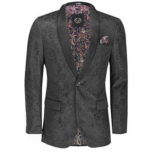 Mens Soft Velvet Paisley Print Tuxedo Jacket Smart Formal Black Lapel Dinner Blazer Retro Tailored Fit[Tux-RONY,42,Black]