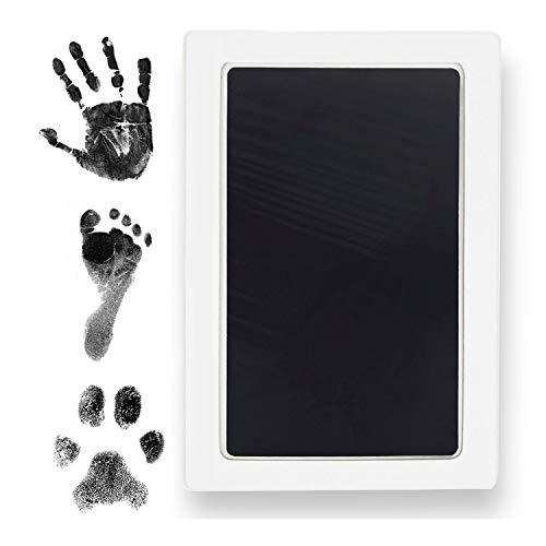Extra Large Clean Touch Ink Pad for Baby Handprints and Footprints – Inkless Infant Hand & Foot Stamp – Safe for Babies, Doesn't Touch Skin – Perfect Family Memory or Gift by Tiny Gifts, Black