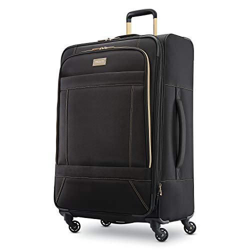 American Tourister Belle Voyage Softside Luggage with Spinner Wheels, Black, Checked-Large 28-Inch