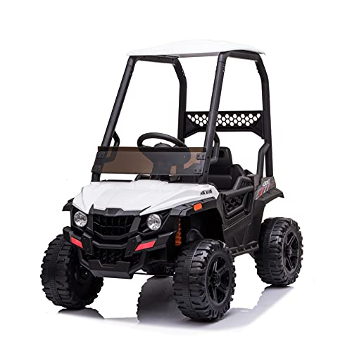 JIMUPARK 12V Electric Ride on Cars, Realistic Off-Road UTV with Ceiling, Motorized Vehicles for Kids, with Remote Control, Music, Story, Wearable Wheels, 3 Speed, Spring Suspension, LED Light -  JIMU-W42229399