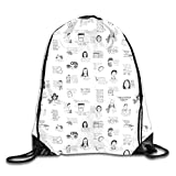 Lawenp Plegable Gilmore Girls Quotes· Drawstring Bag, Sports Cinch Sacks String Drawstring Backpack for Picnic Gym Sport Beach Yoga