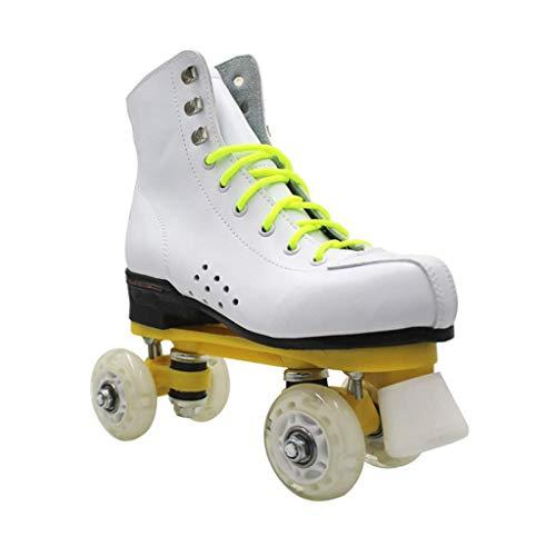 Taoke Roller Skates Frauen, klassisch Hoch-Spitze Vierrädrige Roller Skates Weiß Männer und Frauen grelles Rad zweireihig Skates (Farbe: # 2, Größe: 41 EU) dongdong (Color : #2, Size : 41 EU)