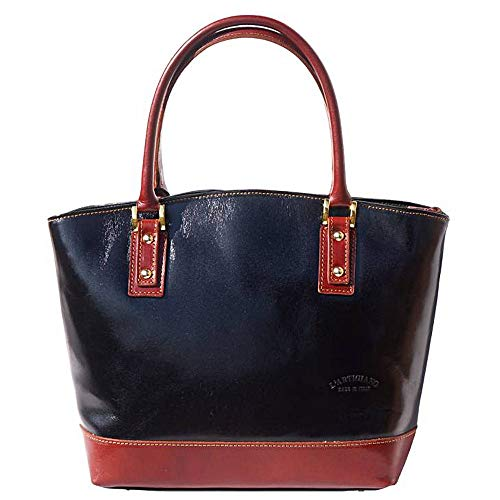 FLORENCE LEATHER MARKET Borsa a mano nera e marrone in pelle 29x12x28 cm - Tote - Made in Italy