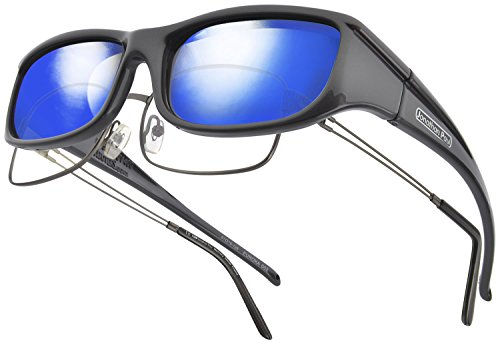 Euroka JP Fitovers - Gun Metal - Blue Mirror Lens (EU002BM)