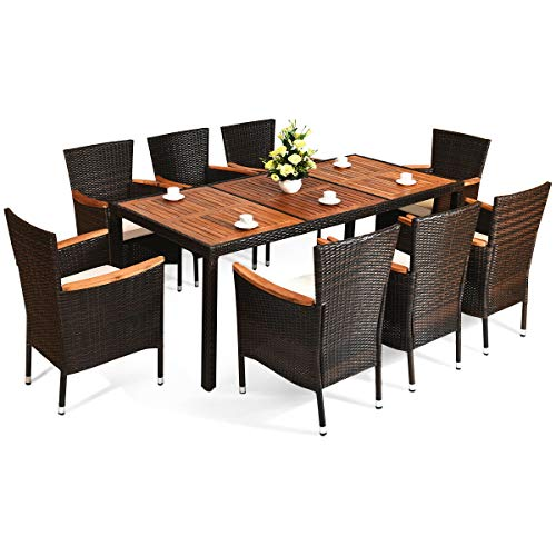 9 Pcs Home Patio Rattan Dining Set Acacia Wood Table Top with 8 Stackable Chairs