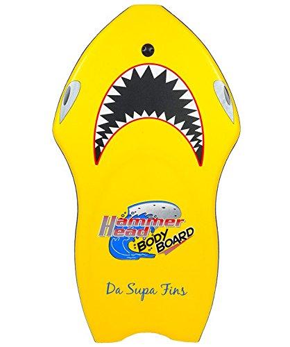 "DaSupaFins Hammerhead Bodyboard with Deluxe Leash & Stability Stringer - Shark Board (Yellow, Small 41.5"")"