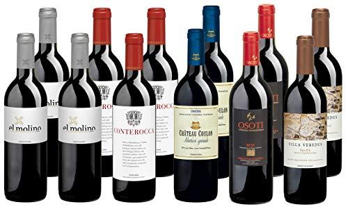 Bio Wein Rotwein Probierpaket Weinset Weinpaket Geschenk Trocken Vegan Frankreich Spanien Italien (12 x 0,5 l)