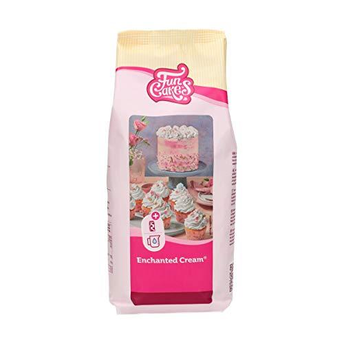FunCakes Preparado Crema Encantada, Crema Blanca Como la Nieve Fácil de Usar, Muy Ligera y Esponjosa, Perfecta para Rellenar y Cubrir Pasteles o Como Cobertura para Cupcakes, Halal. 900 G. 900 g
