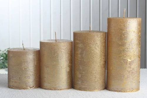 Rustik-Stumpenkerzen-Adventsset, groß, 7 cm Ø, gold-metallic