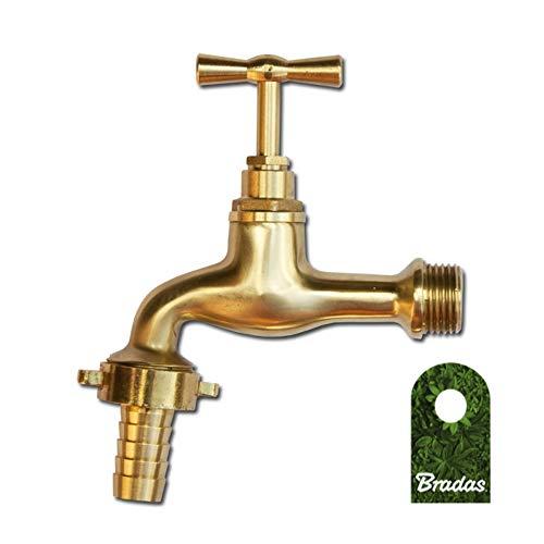 Bradas GKK011213 Messing Wasserhahn 1/2 Zoll Außenhahn Gartenhahn, Gelb, 10x10x10 cm
