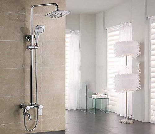 PYROJEWEL Cuarto de baño titular de la ducha de latón cromado grifo de la ducha mezclador superior montado en la pared de la ducha de ducha redonda grifo de la ducha grifo de la ducha ducha Canal Únic